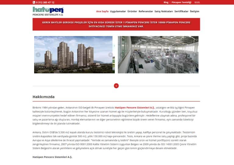 Pimapen Pencere Sistemleri Web Site Tasarımı